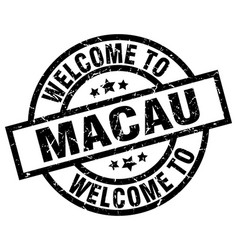 welcome to macau black stamp vector image vector image