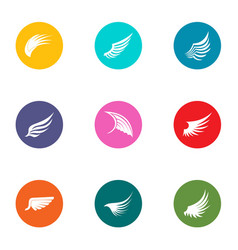 Wing icons set flat style vector