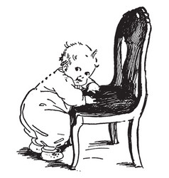 baby on chair pulling himself vintage engraving vector image vector image