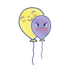 kawaii cute happy balloons design vector image vector image