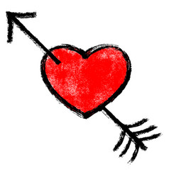 red textured heart pierced black arrow vector image