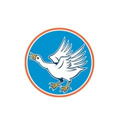 Angry swan attacking circle retro vector