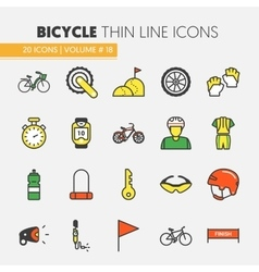 Bicycle and Biking Thin Line Icons Set vector image