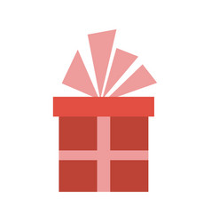 christmas gift box with ribbon bow vector image