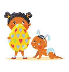 easter kids in bunny ears with decorative egg vector image vector image