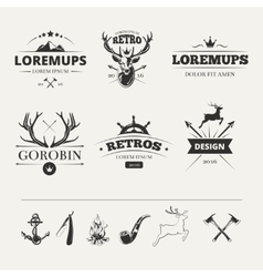 Hipster labels set with deer and antlers vector image