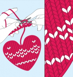 knit heart vector image vector image