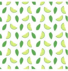 lime seamless pattern with juicy limes and leaves vector image vector image