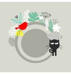 Round label with black cat and red bird vector