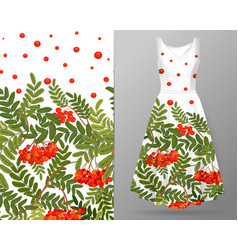 vertical autumn rowanberry seamless pattern on vector image vector image