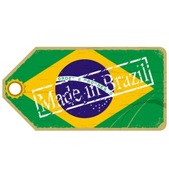 Vintage label with the flag of Brazil vector image