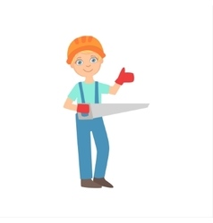 Boy In Working Gloves Holding A Saw Kid Dressed vector image vector image