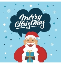 Funny Santa Claus with a gift wishes you Merry vector image vector image