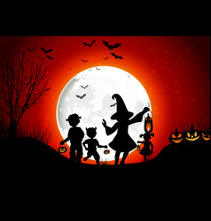 halloween background little girls with pumpkins on vector image vector image