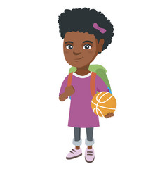 schoolgirl with backpack holding a basketball vector image vector image