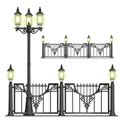 shod street fence with lanterns - isolated vector image
