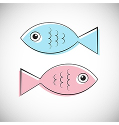 Abstract Blue and Pink Fish Isolated on Ligh vector image
