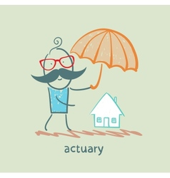 actuary holding an umbrella over the house vector image vector image