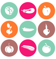 different food icons vector image vector image