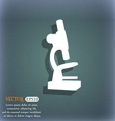 Microscope icon On the blue-green abstract vector image