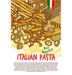 pasta and italian macaroni poster vector image vector image