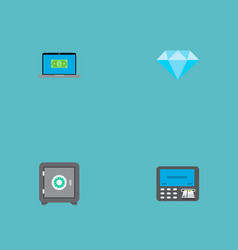 set of banking icons flat style symbols with vector image vector image