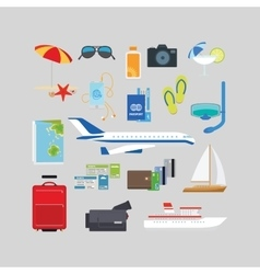 Travel and tourism summer flat icons vector image