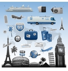 Travel and vacations icons set elements vector image