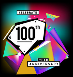 100th anniversary celebration colorful background vector