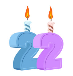 22 years birthday number with festive candle for vector image
