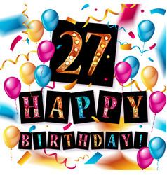 27th anniversary celebration design vector image