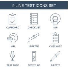9 test icons vector image
