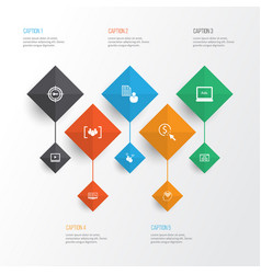 advertising icons set collection of ppc search vector image