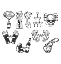 alcohol set sketch engraving vector image