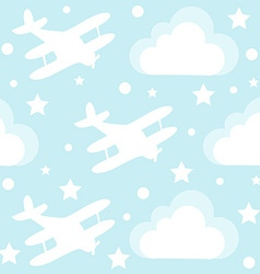 Baby boy seamless pattern with cartoon toy vector