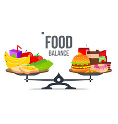 Balance of healthy and unhealthy food vector