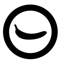 Banana black icon in circle isolated vector