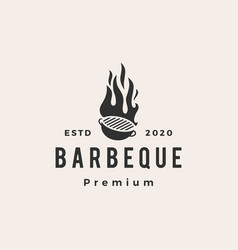 barbecue charcoal grill hipster vintage logo icon vector image