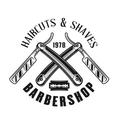 Barbershop emblem with two crossed straight razors vector