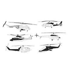 black helicopters silhouettes pictures vector image