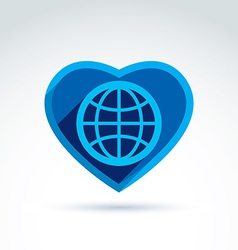 Blue simple planet icon placed in a heart globe vector