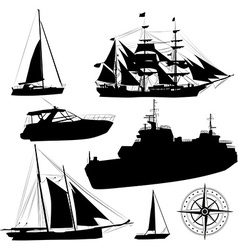 Boat silhouette set vector