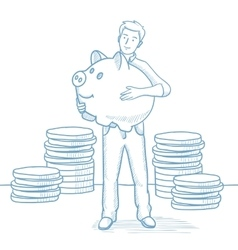 Businessman holding a big piggy bank vector