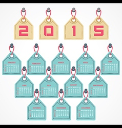 Calendar of 2015 with hanging label design vector image