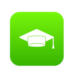 cap student icon digital green vector image