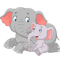 cartoon cute mother and baby elephant vector image