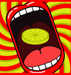 Cartoon large open mouth with slice lemon vector