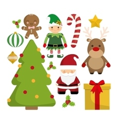 Cartoon set of Chistmas design vector image