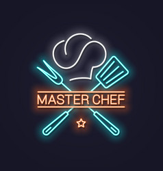 Chef master neon with chef hat neon banner vector