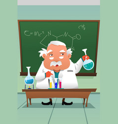 chemistry professor working at lab vector image